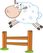 Funny White Sheep Jumping Over The Fence