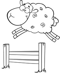 Black And White Funny White Sheep Jumping Over The Fence