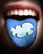 woman with open mouth spreading tongue colored in cloud networki