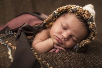 Newborn, Baby, schläft, Mütze