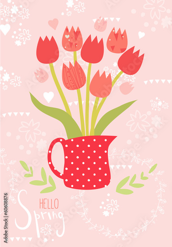 Spring vector greeting card with tulips