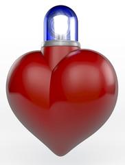 Rotes Herz mit Blaulicht, 3D Rendering