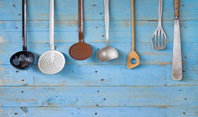 vintage kitchen utensils, free copy space