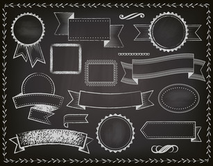 Chalkboard Ribbons, Banners and Frames