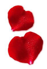 Two  red Valentin `s Day heart  isolated on white.