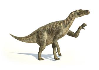 Iguanodon Dinosaur photorealistic representation, in dynamic pos