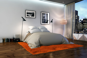 bett auf orangem Teppich - bedroom with orange rug