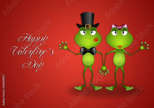 Two frogs in love in Valentine's Day