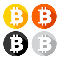 Bitcoin icon with long shadow effect