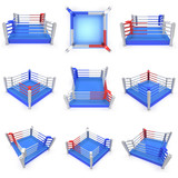 Set of boxing ring. High resolution 3d render.