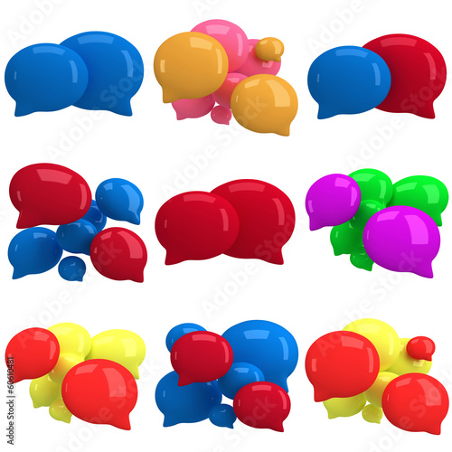 Set of 3d blank speech bubbles