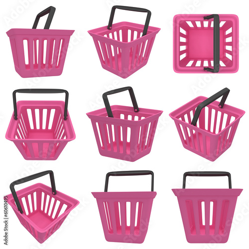 3D rendering of pink shopping basket. Set.