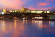 Prague Castle from river at sunrise - Czech republic