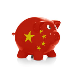 Piggy bank with flag coating over it - China