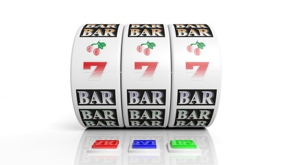 Slot fruit machine display with jackpot isolated on white