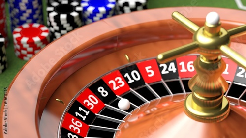 Macro of casino roulette numbers and ball