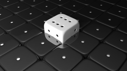 3D render six winner white dice, black and white