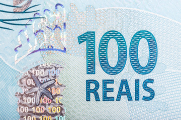Detail of 100 (hundred) reais bill