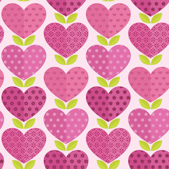 Seamless patterns with flowers, hearts and leaves.