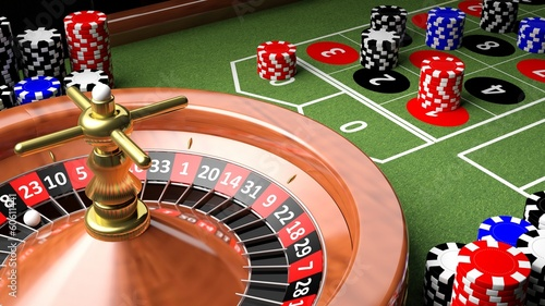 Leinwanddruck Bild Casino table with roulette and chips