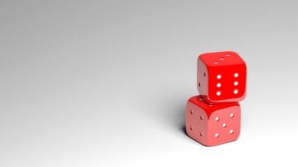 Stack of two red dices on grey background with copy-space