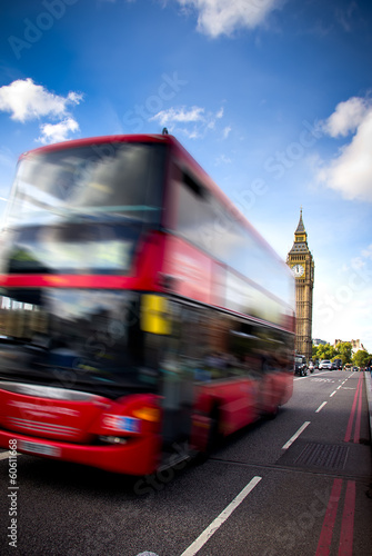 Deurstickers Londen rode bus london bus and big ben