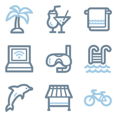 Vacation icons, blue line contour series