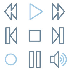 Media player icons, blue line contour series