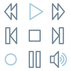 Media player icons, blue line contour series