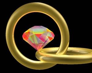Animation n°1 d'une pierre précieuse et deux anneaux d'or