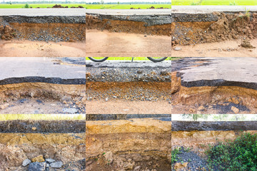 Collection of soil under the asphalt collapsed water erosion