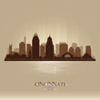 Cincinnati Ohio city skyline vector silhouette