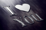 Romantic background with I love you text