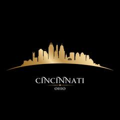 Cincinnati Ohio city silhouette black background