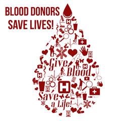 Give blood, save a life concept poster