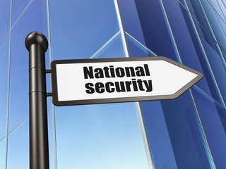 Security concept: sign National Security on Building background