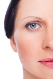 Beautiful face of woman with clean fresh skin witjout retouch poster