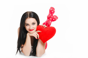 Portrait of Love and valentines day woman holding heart smiling