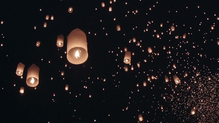 fire balloon in loykrathong fesival ,thailand