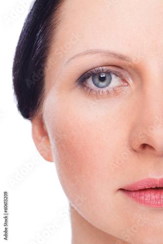 Beautiful face of woman with clean fresh skin witjout retouch