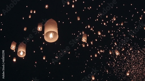 fire balloon in loykrathong fesival ,thailand