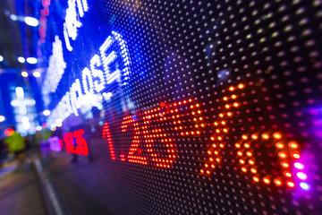 Stock market data on display