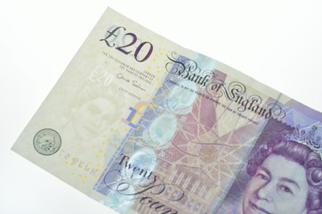 Twenty pound note in detail
