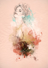 Beautiful woman . watercolor illustration