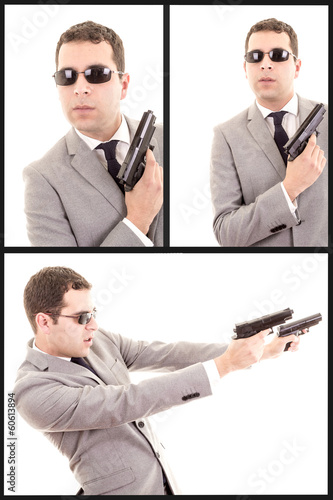 hispanic man with gun, set