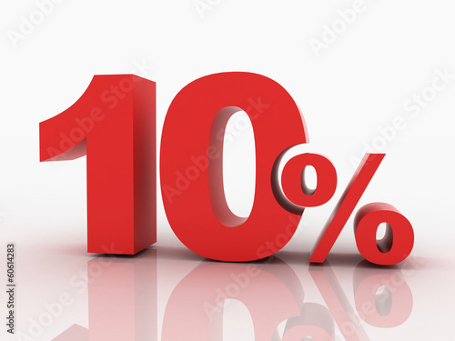 3d rendering of a 10 percent discount in red letters on a white