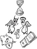 Savings concept illustrations with angel and devil