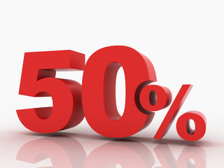 3d rendering of a 50 percent discount in red letters on a white
