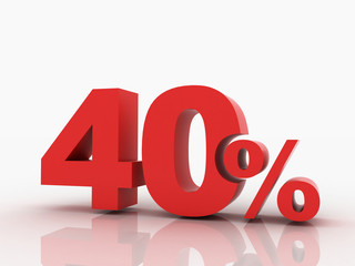 3d rendering of a 40 percent discount in red letters on a white