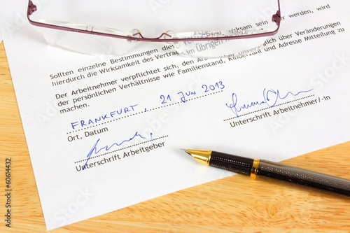 Career concept - German employment contract